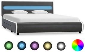 284980 vidaXL Cadru de pat cu LED, antracit, 120 x 200 cm, piele ecologică