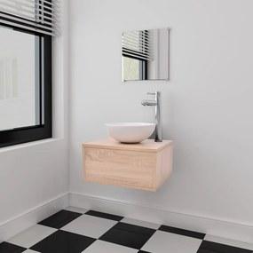 Set mobilier baie 4 piese cu chiuvetă și robinet incluse, Bej
