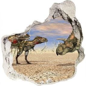 Autocolant un zid spart cu priveliște Dinozauri
