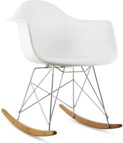 OneConcept AUREL, alb, scaun balansoar, retro, scaun PP, lemn de mesteacăn