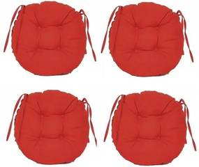 Set Perne decorative rotunde, pentru scaun de bucatarie sau terasa, diametrul 35cm, culoare rosu, 4 buc/set