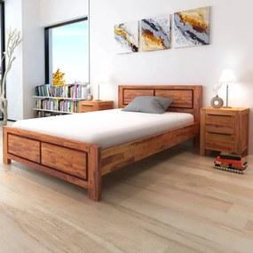 Cadru de pat din lemn masiv de acacia, 140 x 200 cm, maro