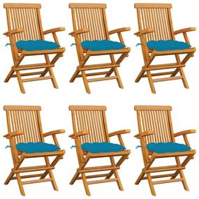 3062560 vidaXL Scaune grădină cu perne, 6 buc., albastru, lemn masiv tec