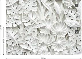 Fototapet GLIX - Vintage 3D Carved Flowers White + adeziv GRATUIT Tapet nețesute - 254x184 cm