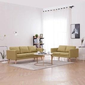 276854 vidaXL Set de canapele, 2 piese, verde, material textil