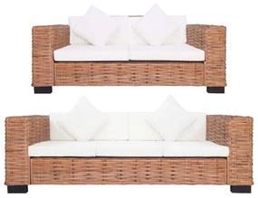278623 vidaXL Set canapea cu perne, 2 piese, ratan natural