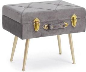 Taburet cu spatiu depozitare tapiterie velur gri cu picioare fier auriu Polina 50 cm x 34 cm x 42 h