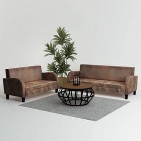 275226 vidaXL Set canapea, 2 buc., piele artificială de căprioară, maro