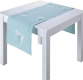 Traversă de masă cu broderie FLORI ALBE, 40 x 160 cm