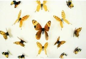 Set 18 autocolante cu efect 3D Ambiance Butterflies Yellow