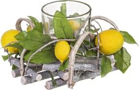 Suport lumanare lemn sticla Lemon Ø16 cm x 9 h