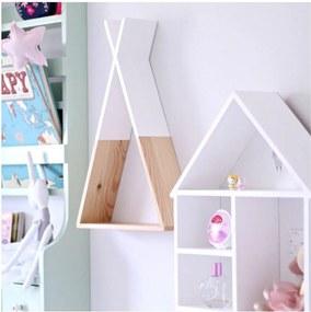 Raft de perete din lemn North Carolina Scandinavian Home Decors Teepee, înălțime 45 cm, alb