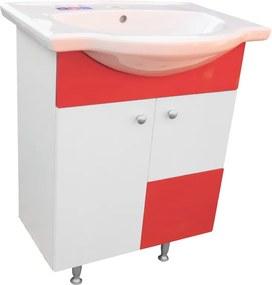 Mobilier baie Celesta 70 cm Rosu cu 2 sertare