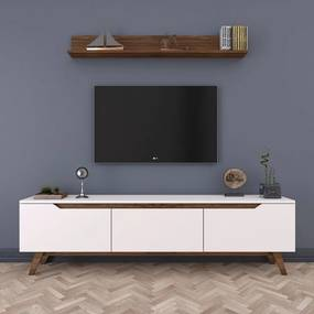 Set comodă TV cu 3 uși rabatabile și etajeră de perete Wren White, alb-natural