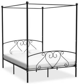 284437 vidaXL Cadru de pat cu baldachin, negru, 160 x 200 cm, metal
