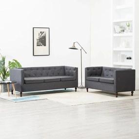 275634 vidaXL Set canapele Chesterfield 2 piese gri închis tapițerie țesătură