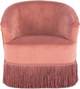 Scaun pentru copii din catifea Alfred Roz vintage
