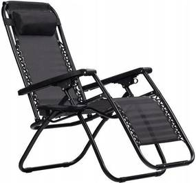 Scaun pliabil tip sezlong, ajustabil, cu tetiera, cotiere si suport lateral, pentru gradina sau terasa, culoare negru
