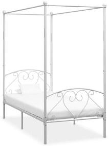 284426 vidaXL Cadru de pat cu baldachin, alb, 90 x 200 cm, metal