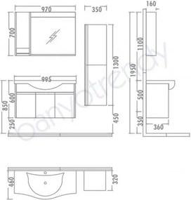 Set Mobilier Baie cu Lavoar (fara dulap)  - Logan 100