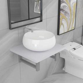 279325 vidaXL Set mobilier de baie, 2 piese, alb, ceramică