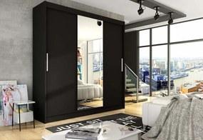 Expedo Dulap dormitor cu uşi glisante LUKAS cu oglindă, 250x215x58, negru mat