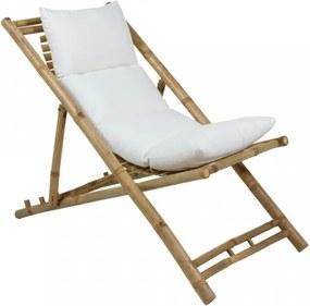 Sezlong ajustabil din bambus cu perna alba Cushion Santiago Pons