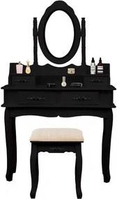 Set Maia, Masă de toaletă cu oglindă iluminată bandă LED, control touch, 4 sertare, scaun, Negru