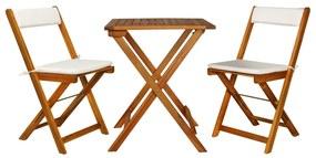 44014 vidaXL Set bistro pliabil cu perne, 3 piese, lemn masiv de acacia