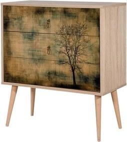 Comodă din lemn cu 3 sertare Kasiani Tree