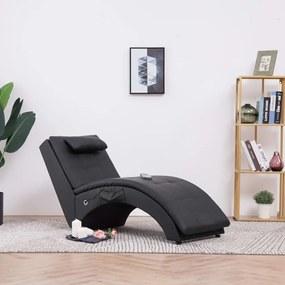 281344 vidaXL Șezlong de masaj cu pernă, negru, piele artificială