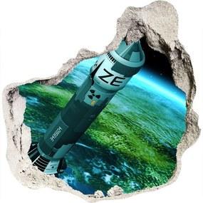 Autocolant de perete gaură 3D Rachetă nucleară
