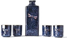 Set carafă cu 4 cești pentru sake MIJ Dragonfly