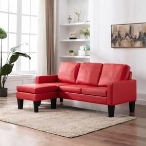288772 vidaXL Canapea cu 3 locuri și taburet, roșu, piele ecologică