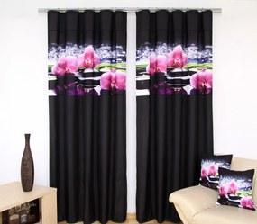 Draperie modernă neagră cu model de orhidee Lăţime: 160 cm | Lungime: 250 cm (într-un set de 2 bucăți)