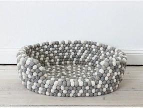 Pat cu bile din lână pentru animale de companie Wooldot Ball Pet Basket, 40 x 30 cm, alb - gri deschis