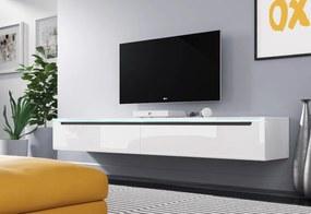 Expedo Comodă TV MENDES DES I 180, 180x24x33, alb/alb luciu, cu iluminare LED