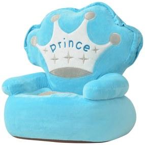 80157 vidaXL Scaun din pluș pentru copii, Prince, albastru