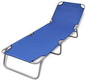 41477 vidaXL Șezlong pliabil cu pernă și spătar reglabil Albastru