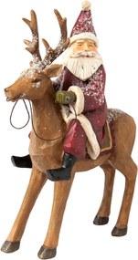 Figurina Mos Craciun cu Cerb polirasina rosu 20x7x26 cm