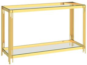 289024 vidaXL Masă laterală auriu, 120 x 40 x 78 cm, oțel inoxidabil & sticlă