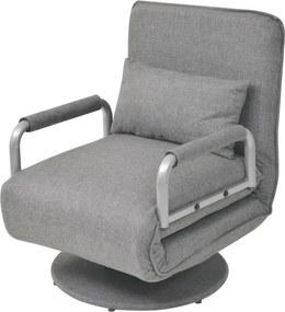 Scaun pivotant canapea extensibilă, gri deschis, 60 x 75 x 80 cm