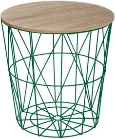 Masa cafea Moutr Green, otel, blat lemn MDF, 39x41 cm