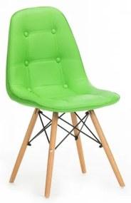 Scaun tapitat cu piele ecologica, cu picioare de lemn Stag Green, l55xA48xH83 cm