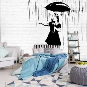 Fototapet - Fata cu umbrelă în ploaie (152,5x104 cm), în 8 de alte dimensiuni noi