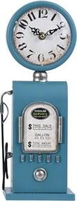 Ceas Vintage Gas Pump din metal albastru 13x75 cm