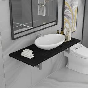 279355 vidaXL Set mobilier de baie, 2 piese, negru, ceramică