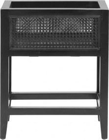 Jardiniera Neagra din Lemn de Tec - Lemn Negru Lungime (45 cm) x Latime (25 cm) x Inaltime (55 cm)