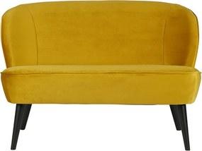Canapea mica din catifea galbena Sara Woood
