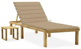 3065837 vidaXL Șezlong de grădină cu masă și pernă, lemn de pin tratat